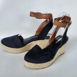 BCBG ENERATION  Espadrille Wedge black shoes 7